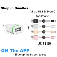 USB Charger for iPhone Samsung Android 5V 4A 4-Ports Mobile Phone Universal Fast Charge LED Light  Wall Adapter