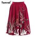 Tonval Vintage Gorgeous Print Skirts Womens Retro Pleated Skirt High Waist Summer Saia Midi Swing Skirt