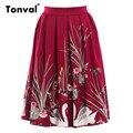 Tonval vintage lindo impressão saias das mulheres retro saia de cintura alta plissada verão saia midi saia swing
