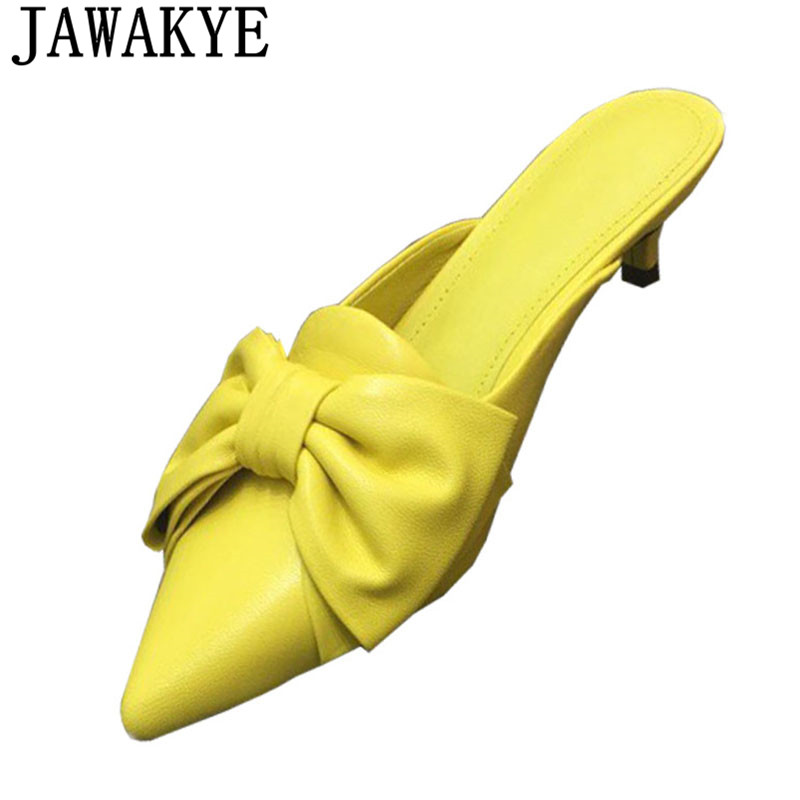Summer Slippers women pointed toe candy color butterfly knot embellished flip flops outdoor kitten heel lazy