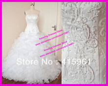 Real Luxury Beaded Organza Ruffles Bridal Wedding Dress Ball Gown Lace Up Back W1450