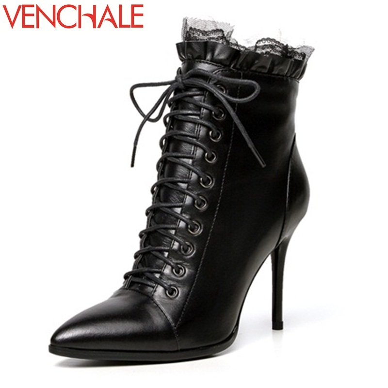 VENCHALE 2017 ankle boots genuine leather pointed toe thin super high heels side zipper fashion women boots in winter large size