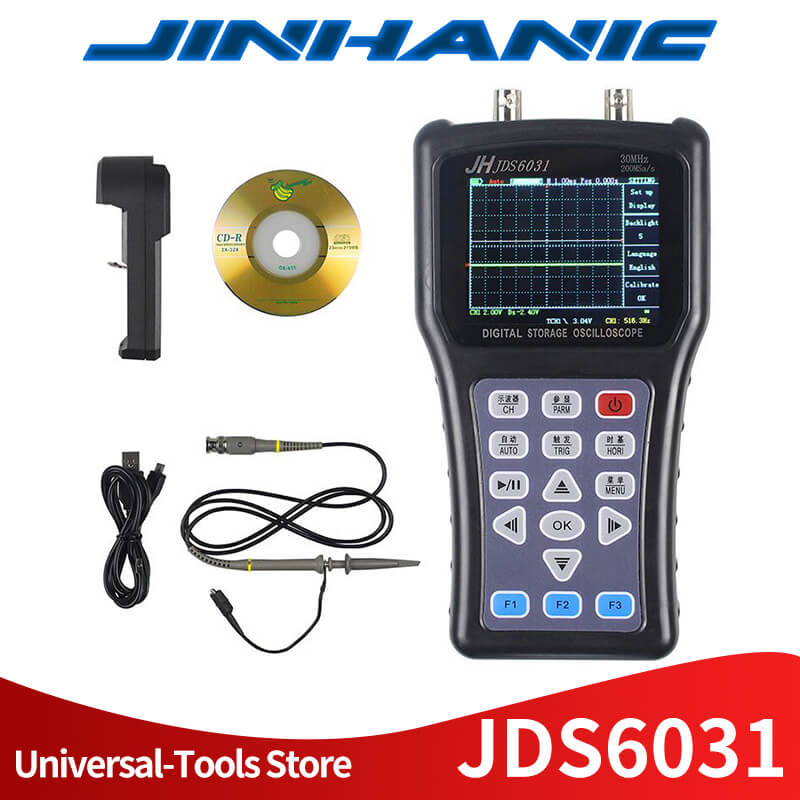 Jinhan JDS6031 New Hand held Oscilloscope 1CH 30M 200MSa S with USB Charger Probe Cable Set