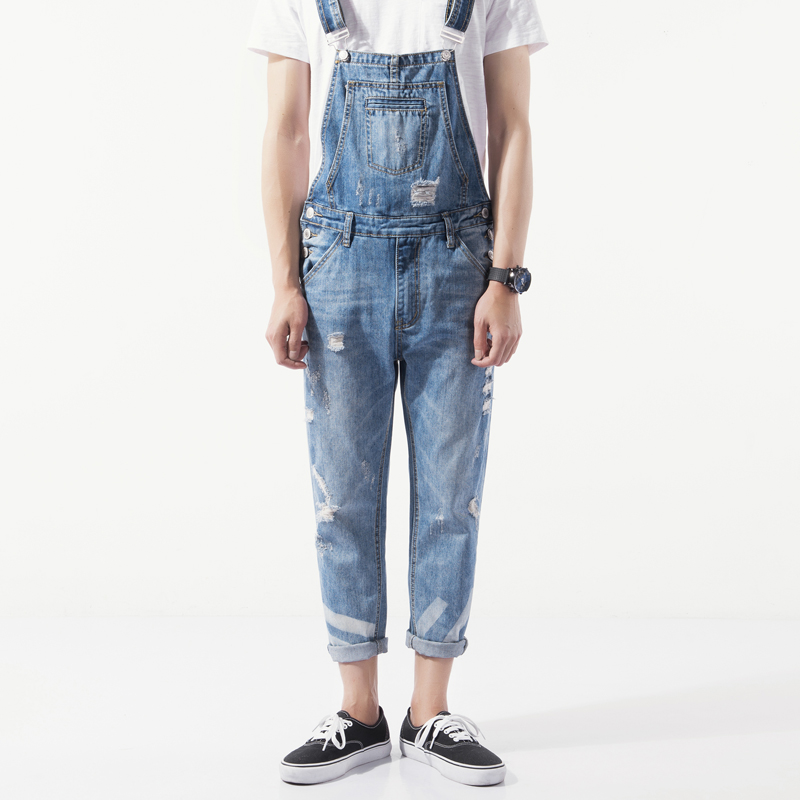Men one piece spaghetti strap vintage jeans tooling bib pants male slim ankle length trousers M-3XL hot new men s overalls fashionable denim bib pants slim strap pants tooling suspenders trousers jeans singer costumes rompers
