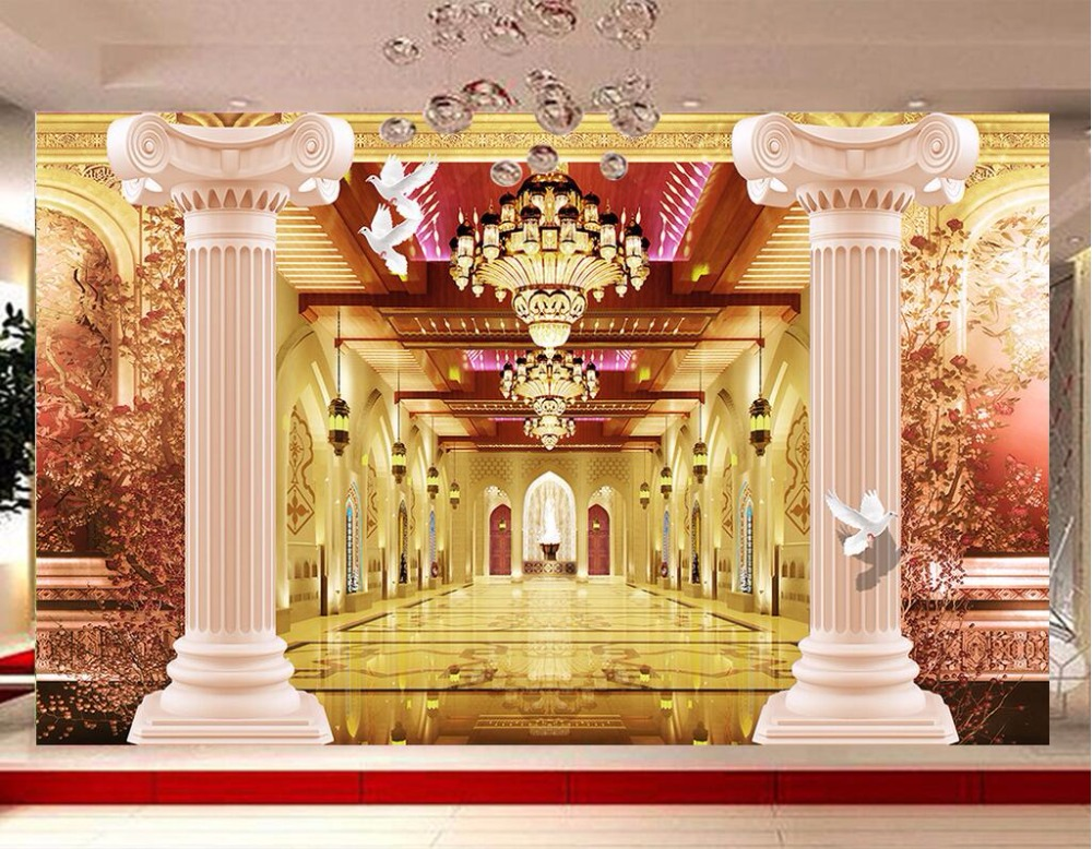 Custom mural photo 3d wallpaper rome pillar corridor home for Custom mural wallpaper