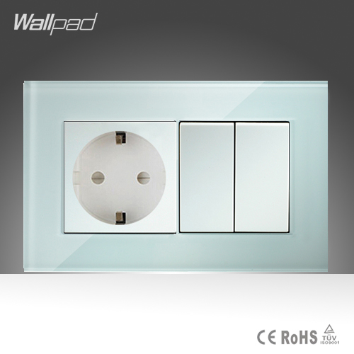 16A EU Socket and 2 Gang Wallpad 146*86mm BS CE White Crystal Glass European Socket and 2 Gang Switch Free Shipping 10a universal socket and 3 gang 1 way switch wallpad 146 86mm white crystal glass 3 push button switch and socket free shipping