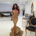 2016 Sexy Sparkling Sequined Ruffles Gold Mermaid Prom Dresses Sweep Train Split Side Long Formal Evening Gowns Custom made