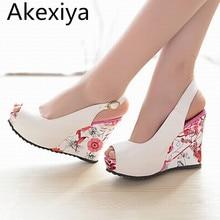 Akexiya 2017 новый клин сандалии женской обуви на высоких каблуках обувь открытым Носком Платформа Пряжка Женщины Летняя Обувь 4 цвета Большой Размер 33-41