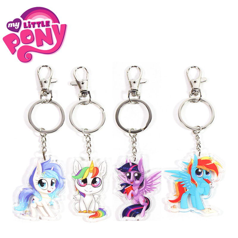 New 5.5cm My Little Pony Toys Charm Twilight Sparkle Rainbow Dash Fluttershy Pendant Key Holder Pony Keychain Party Supplies