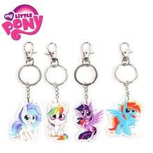 Nuevo 5,5 cm de mi pequeño Pony juguetes de encanto Twilight Sparkle Arco Iris Dash Fluttershy clave colgante titular de Pony llavero fiesta suministros