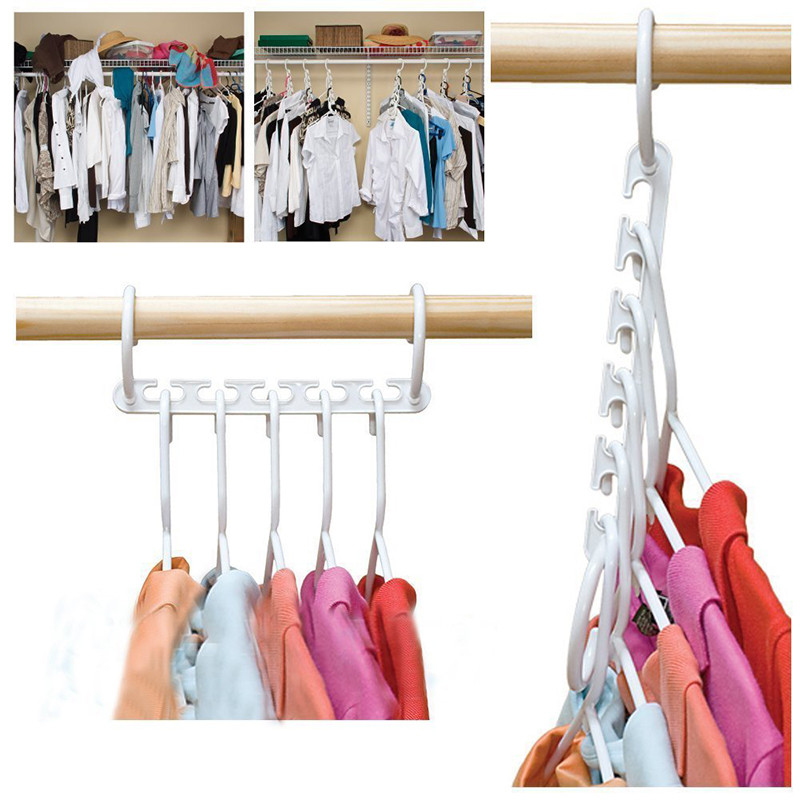 1PC 5 Hole Magic Wander Hangers Clothes Space Saver Space Saver Wonder Magic Clothes Hanger Hook Hangers For Clothes