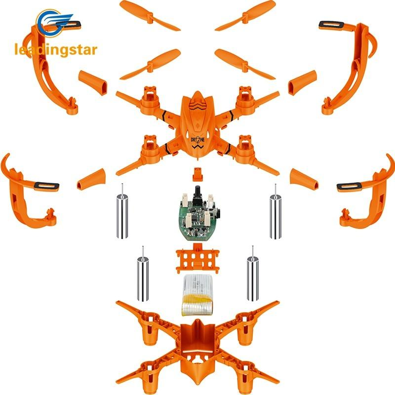 LeadingStar Mini drone DIY Headless RC Quadcopter Puzzle Assembling 3D Rotation Aircraft Drone with Lights super space aircraft style diy 3d paper foam puzzle multicolored