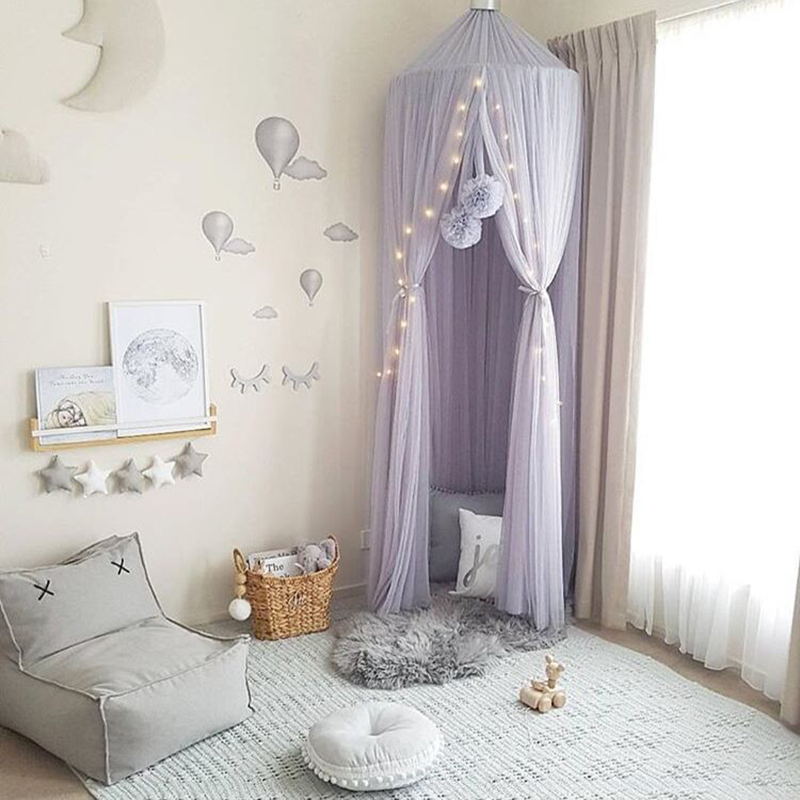 Round Baby Bed Mosquito Net Dome Hanging Cotton Bed Canopy