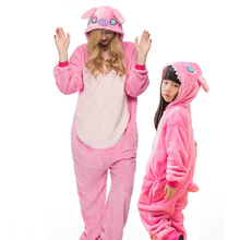 Adult Kid Women Men Anime Pink Stitch Kigurumi Pajamas Animal Cosplay Costume Onesies For Boys Girls Cartoon Home Clothes