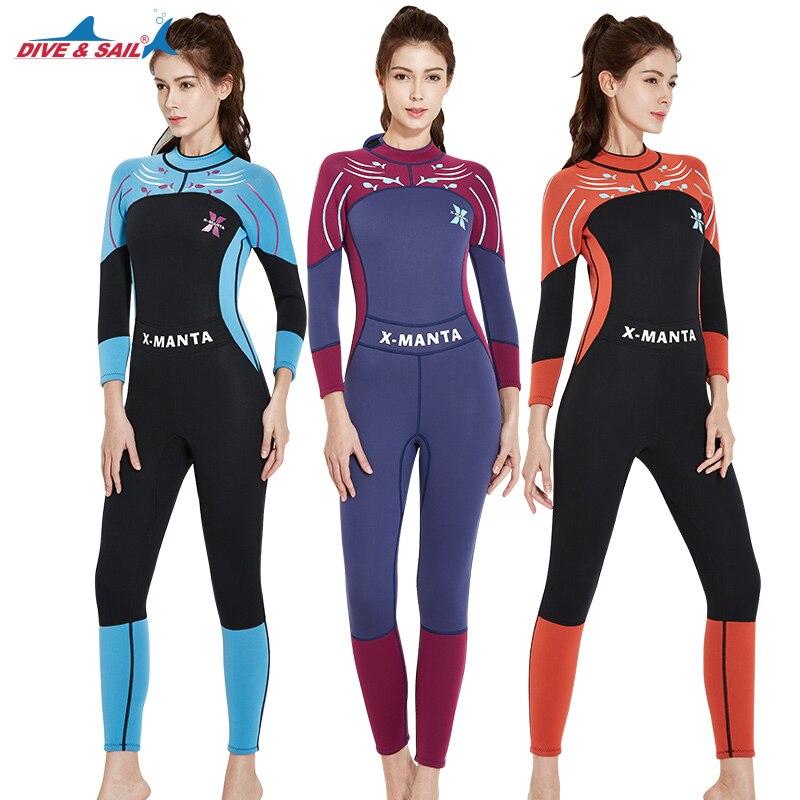 DIVE&SAIL 3mm Women Diving Suit Long Sleeve Scuba Snorkeling Surfing Swimsuits Rash Guards Girls UV Sunscreen Jumpsuit Swimwear велосипед stark tactic disc 26