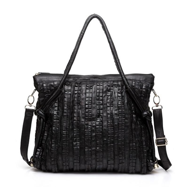 ФОТО Caerlif Black Casual Women Shoulder Bags Leather stitching sheepskin Female Big Tote Bags for Ladies Handbag Large Capacity