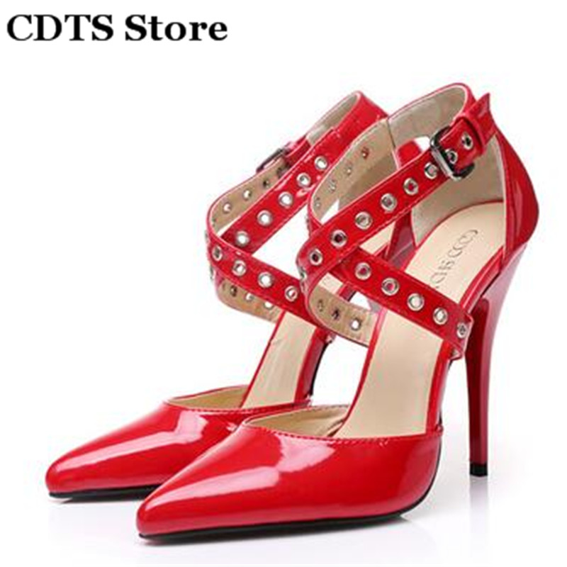 ФОТО CDTS:35-45 Summer Crossdresser Sandals 2016 women patent leather shoes sexy 12cm thin high-heeled novelty banquet single pumps