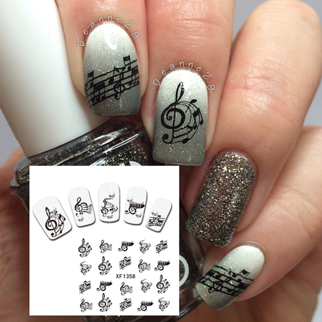 1 Sheet Musical Notes Pattern Nail Art Water Decals Transfer Sticker ...