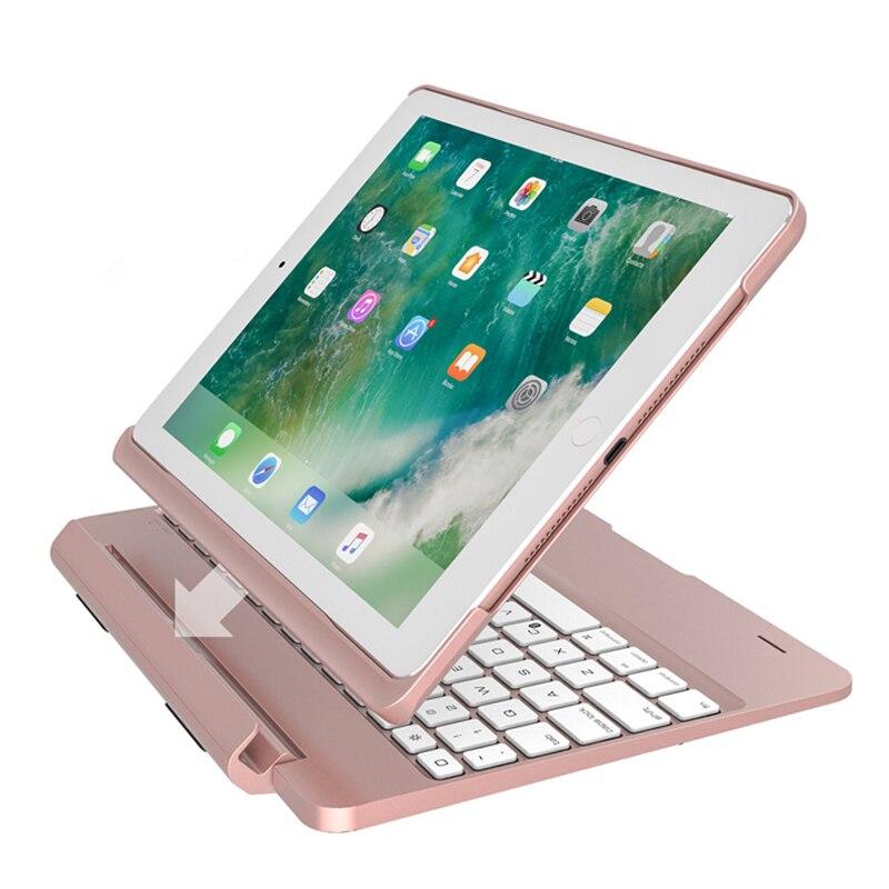 2 EM 1 Girando Casos de Liga De Alumínio De Luxo Para O iPad 9.7 2017 2018 Pro A1893 A1954 2 Ar Caso Sem Fio tampa do Teclado Do bluetooth
