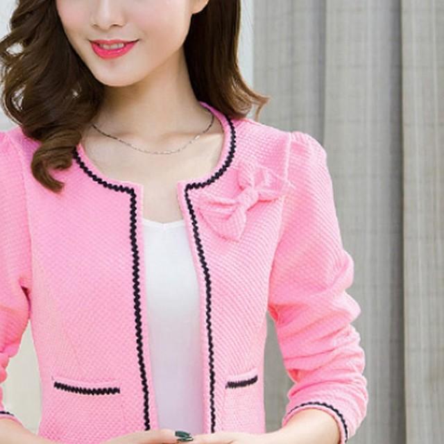 Fashion Hit Color Elegant Women Blazers Round Neck Long Sleeve Formal Jackets S-3XL Casaco Patch Bow Knot Slim Women Blazers 5