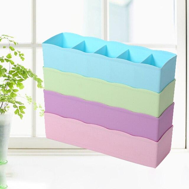 Multifunction Underwear Socks Tiny Things Storage Box Plastic Finishing Box Five Grids Drawer Desk Bed Cabinet
