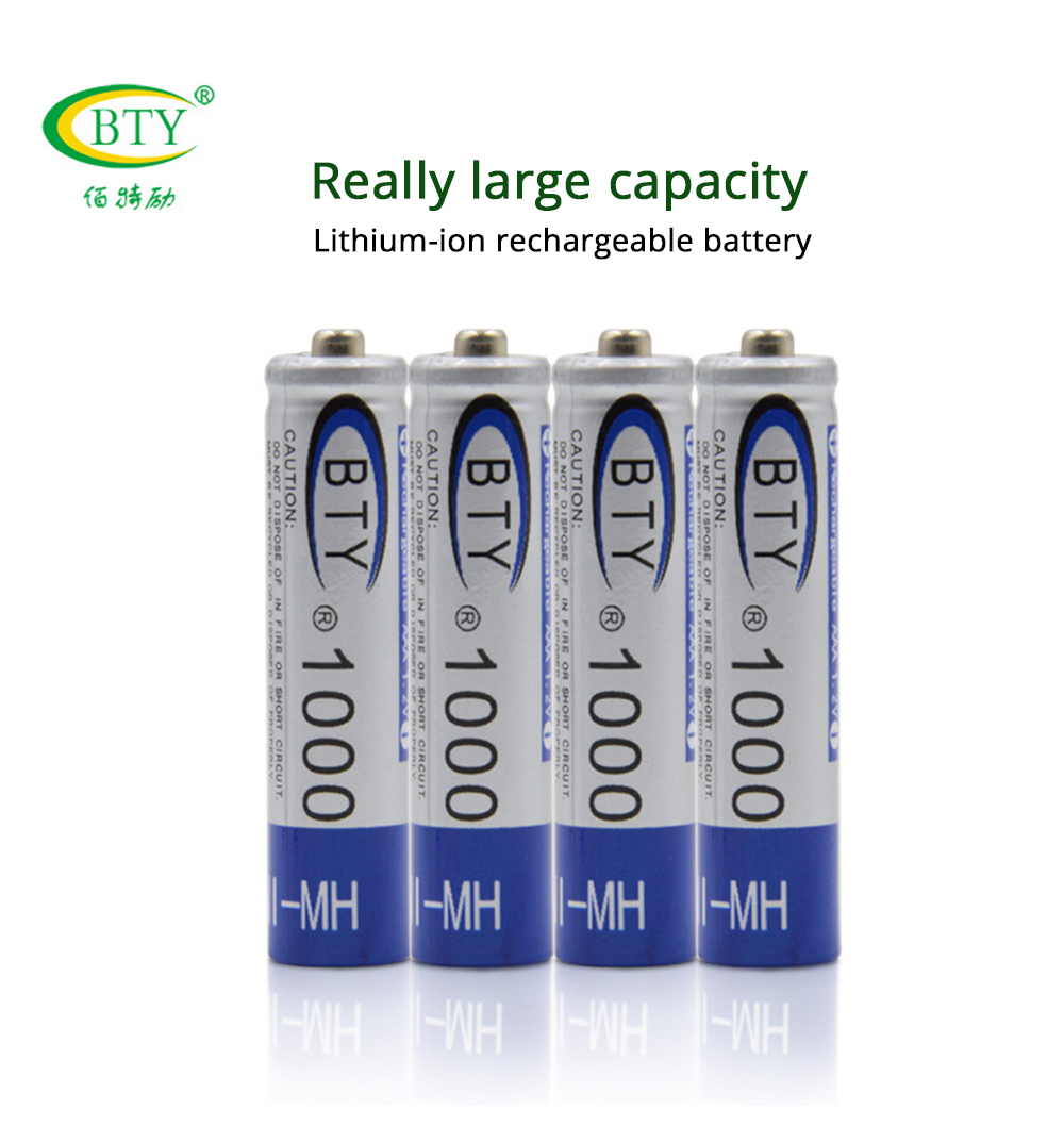 8pcs BTY <font><b>Rechargeable</b></font> Battery <font><b>AAA</b></font> <font><b>1000mAh</b></font> NI-MH 1.2V 1000 mah Rechargeables Bateria <font><b>aaa</b></font> Batteries NI MH Batery for mp3 RC Toy image