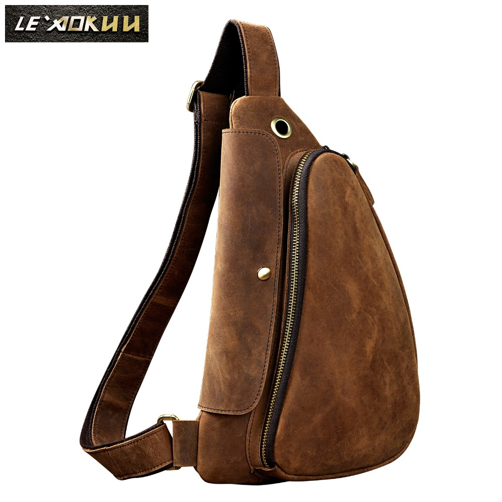 Original Leather men Casual Fashion Travel Waist Belt Bag Chest Sling Bag Design One Shoulder Strap