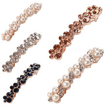 Crystal Rhinestone Pearl White Diamond Hairpins Bangs Hair Clips Girls Barrettes Clamp Jewelry Styling Tools Fashion Women(China)