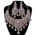 Conjuntos de Jóias de ouro colar De Noiva brincos de Casamento Das Mulheres Vestido de Festa Declaração colar conjuntos de Brincos estilo moda Russa