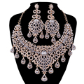 gold Jewelry Sets Bridal necklace earrings Women Wedding Party Dress Statement necklace Russian fashion style Earrings sets