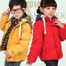 2015 новый Ребенок пуховик мужской мальчики зима детская одежда дети ребенок утолщение короткая куртка верхняя одежда