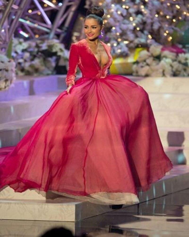 Arabia Hot Sale Myriam Fares V Neck Long Sleeves Red Chiffon Evening ...