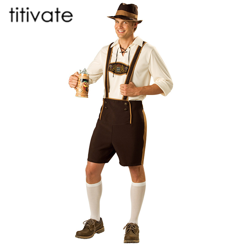 TITIVATE New Bavarian Octoberfest German Festival Beer Cosplay Halloween Costumes for Men Adult Plus Size M L XL 2XL 3XL