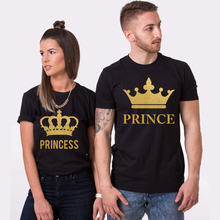 Crown Princess Prince Lovers Sets Loose Fashion Couples Tee 100% Cotton Soft Short Sleeve Top Tee