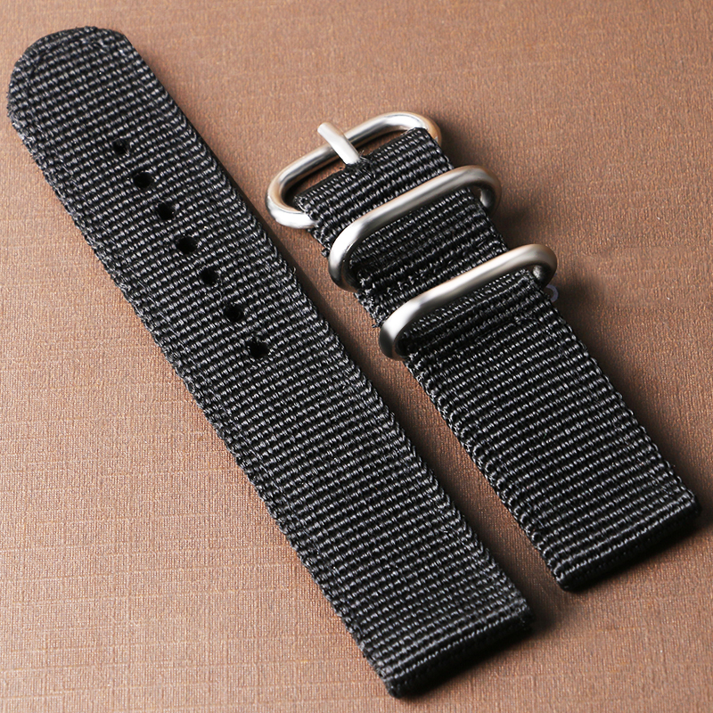 20/22mm Canvas Black Watch Band Strap + 2 Spring Bars Wrist Watches Bands for Men Women BD0132 canvas blue fashion watch band strap 20 22mm wrist watches replacement bands for men boy male bd0134