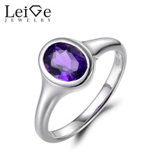 Leige Jewelry Vintage Wedding Ring Natural Amethyst Ring Oval Cut Purple Gemstone Solid 925 Sterling Silver February Birthstone