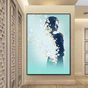 Image 3 - Canvas Painting Abstract Art Elegant female with flowers  Print Poster Pictures Oil pating For Living Room Decoration Wall atr