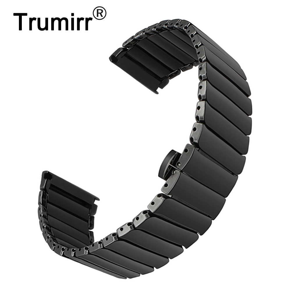 22mm Ceramic Watchband for Samsung Gear S3 Classic / Frontier R760 R770 Porcelain Watch Band Steel Butterfly Buckle Wrist Strap for samsung gear s2 classic black white ceramic bracelet quality watchband 20mm butterfly clasp