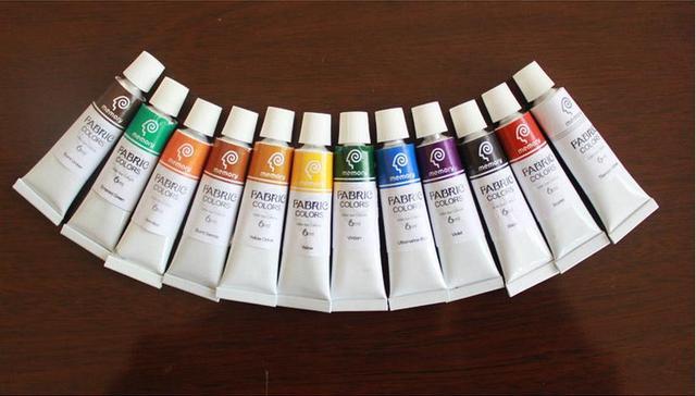 Novo 2015 Coréia Mão-pintado fibras têxteis pigmento 12X10 ML Mão-pintado roupas e sapatos pintura não se desvaneceu pigmento diy