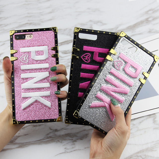 Luxury Brand Victoria PINK Case For Iphone XS Max X XR Square Case For Iphone 7 8 Plus 6 Bling Glitter Secret Back Phone Cover