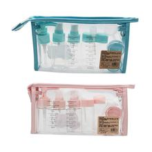 Portable Cosmetics Dispensing Set Travel Bottles 10 Pcs Air Bottle Toiletries Liquid Containers Cosmetic Storage Bag