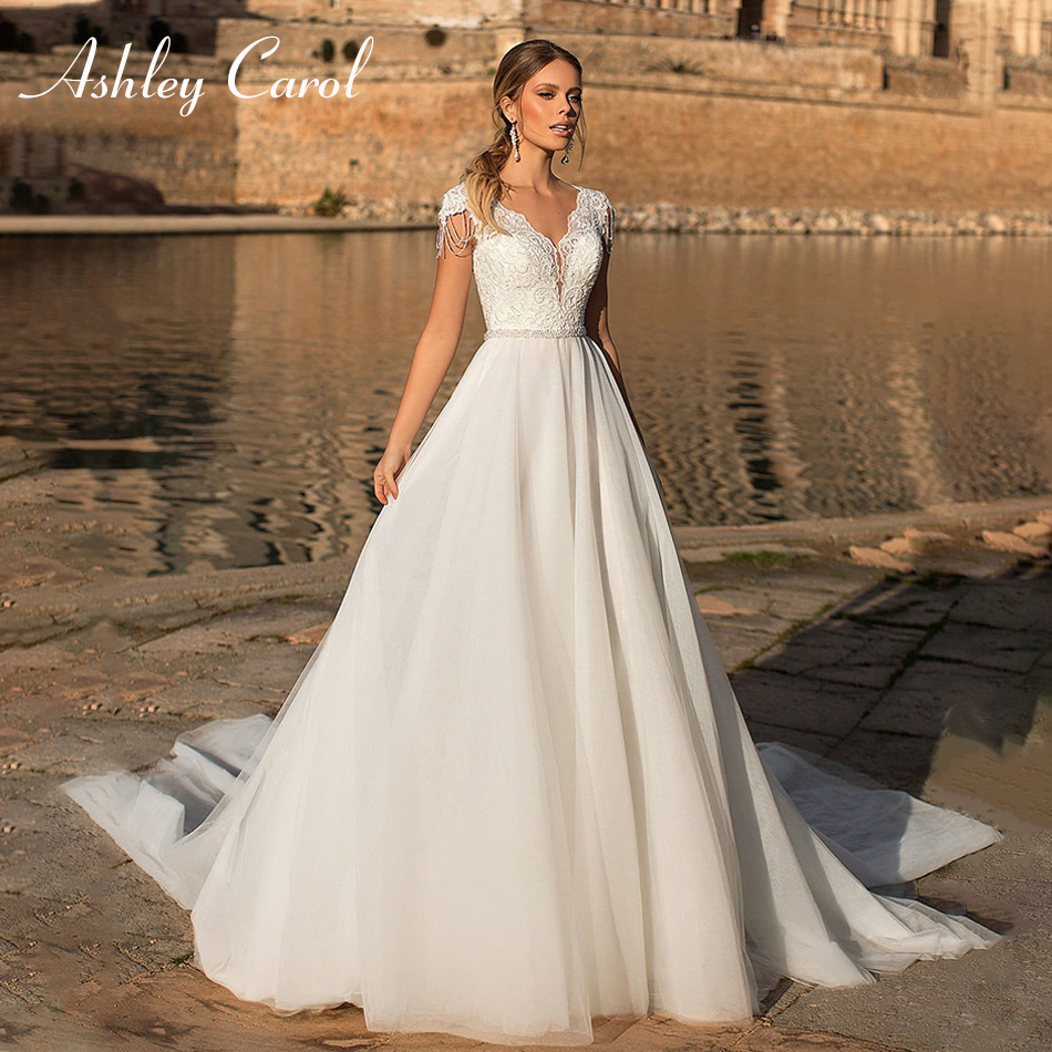 Ashley Carol Sexy V-neck Short Tulle Wedding Dresses 2019 Beaded Simple Chapel Train A-Line Bride Dress Glamorous Wedding Gowns
