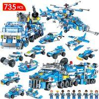 30 Change Police Series Building Blocks SWAT City Truck Station Compatible LegoING City WW2 Blocks Toy For Children Boy 735pcs