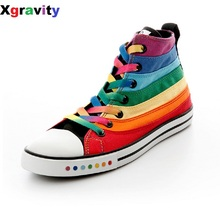 Xgravity Hot Flats Spring Autumn Colorful High Canvas Shoes Female Shoes Casual Flat Woman Shoes Rainbow Lady Footwear C208