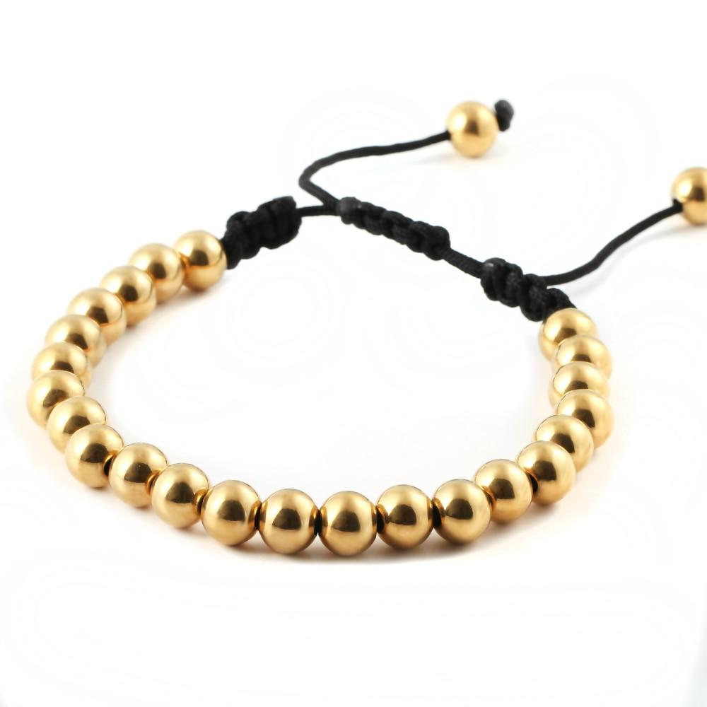Handmade Macrame Adjustable Stainless Steel Bead Bracelets