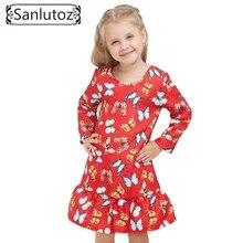 Fille Robe Hiver 2016 Enfant Enfants Robe pour les Filles Enfants Vêtements Papillon Princesse Partie De Mariage De Vacances Rouge Vêtements