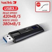 SanDisk usb флэш накопитель 3.1 extreme Скорость накопитель 256 ГБ 128 ГБ 420 МБ/с. флешки памяти mini usb stick большой Ёмкость расширения