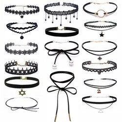 ZOEBER, модный стиль, колье, ожерелье, Черное кружево, кожа, бархатная полоска, женский воротник, вечерние ювелирные изделия, аксессуары для шеи,...