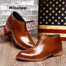 Misalwa Mens Pointed British Short Ankle Boots Split Leather Barber Business Oxfords England Young Men shoes Dropshipping