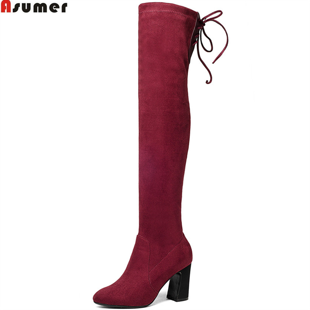 ASUMER black hot sale new arrive wine red fashion women boots flock square heel ladies boots round toe sexy over the knee boots hot sale new arrival black red full grain leather zip fashion women boots round toe square heels over the knee shoes woman ab888